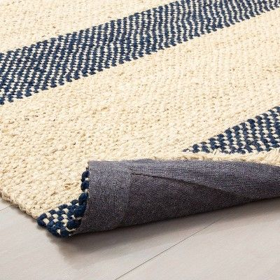 7 X 10 Jute Navy Stripe Rug With Fringe Hearth Hand With Magnolia Adult Unisex Size 7 X10 Blue White In 2020 Striped Rug Rugs Navy Stripes