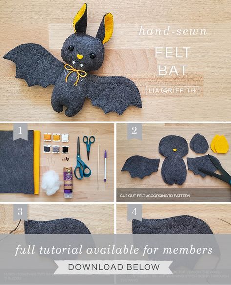 Learn How to Craft the Cutest Felt Baby Bat Stuffie - Lia Griffith Felt Crafts Patterns, Fabric Crafts, Sewing Crafts, Sewing Projects, Felt Crafts Kids, Felt Projects, Needle Felted Animals, Felt Animals, Needle Felting