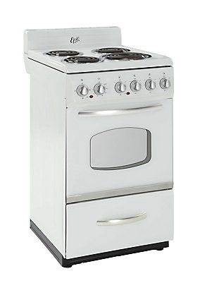 Epic 20 Inch Retro Electric Range In White The Home Depot Canada Electric Range Chrome Towel Bar Oven Cleaning