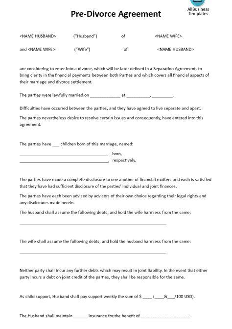 Divorce petition templateseparation agreement – Divorce Template