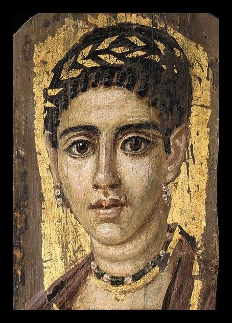 Fayum (or Fayoum) mummy portrait of a young woman with a
