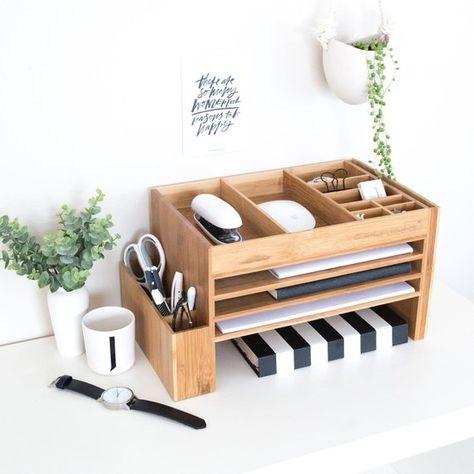 Wood Home Office Desk Supplies Organiser   Office Storage   Desk Tidy   Dock Station