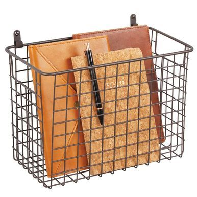Large Metal Wire Wall Mount Storage Basket 6 X 12 X 8 Storage Baskets Wall Mounted Hooks Storage Center