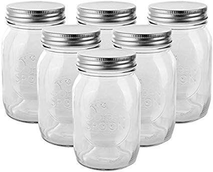 Golden Spoon Mason Jars With Regular Lids And Lids For Drinking Regular Mouth Dishwasher Safe Bpa Free Set O Mason Jars 16 Oz Mason Jars Ball Mason Jars