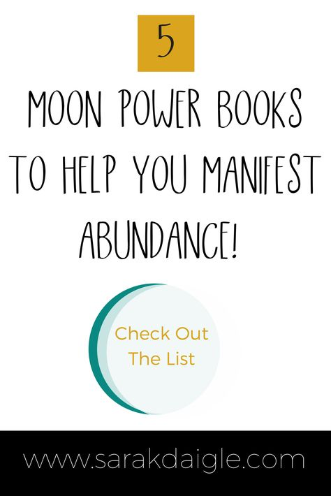 These 5 Moon Power Books will help you learn how to attract abundance using #moonmagic. Learn all about the lunar cycles and how to use them in practicing the law of attraction. #moonmanifesting #moon #mooncycle #fullmoonritual #newmoon #loa