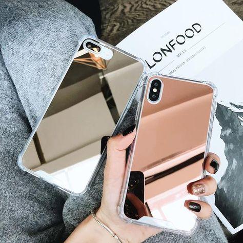 Coque luxueuse avec placage miroir en silicone et coins renforcés pour iPhone 7 Plus
