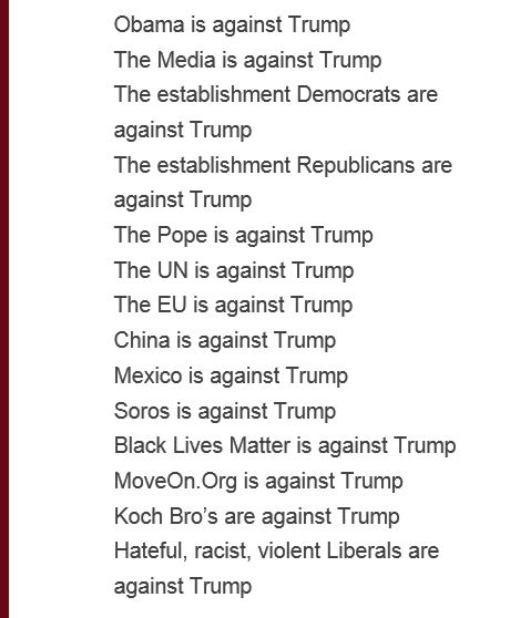 Jeb Bush, Carly Fiorina, Scott Walker, illegals, career criminals, etc. Now look at the most important groups that endorse Trump: Benghazi survivors, the Border Patrol, and families of victims of illegals
