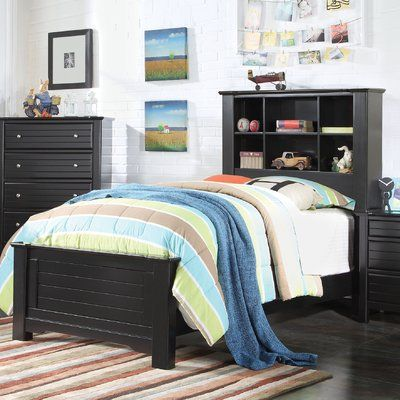 Bee Sanner Bookcase Panel Bed Size: Twin, Bed Frame Color: Black