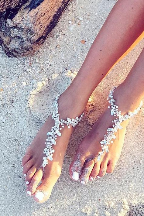 We would like to inspire you with awesome beach wedding shoes. Take a look at this fabulous trend - barefoot sandals with lace, pearls and rhinestones. Weddings 30 Beach Wedding Shoes That Inspire