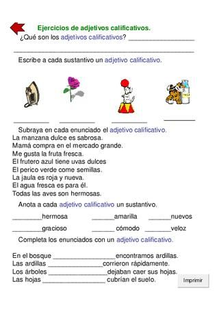 Guia 2 Castellano Adjetivos Adjetivo Sustantivos Y Adjetivos