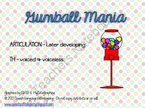 Articulation Gum Balls - TH (freebie) from Speech Language Pathologizing on TeachersNotebook.com -  (7 pages)  - Articulation activity with words and sentences for voiced and voiceless TH