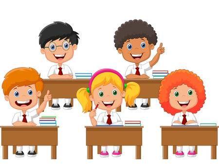 Los Escolares De Dibujos Animados En El Aula En Leccion Children Illustration Cartoon Kids Kids Stock