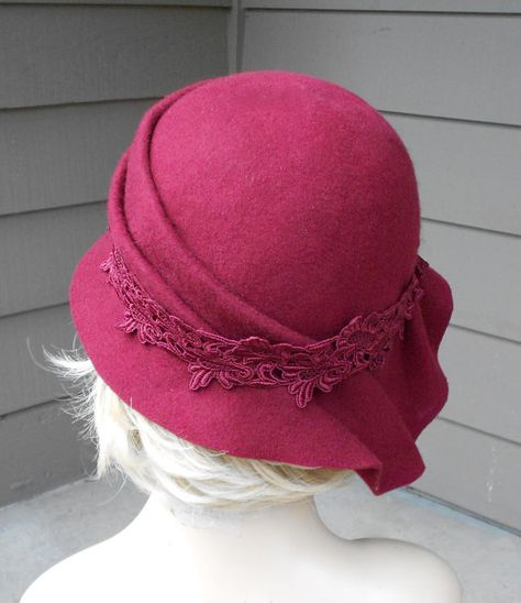 Sophia Wool Felt Cloche with side draped pleats by LuminataCo, $175.00