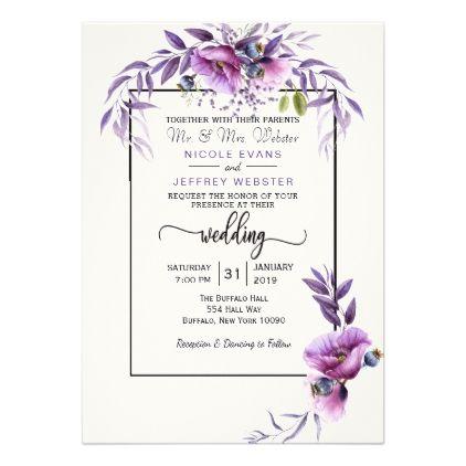 Purple Flower Country Wedding Invitation Zazzle Com Purple