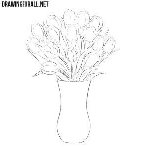How To Draw Flowers In A Vase Tulip Drawing Flower Vase Drawing Flower Drawing