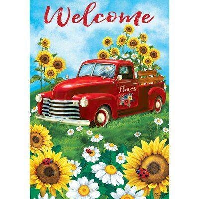 Custom Decor Sunflower Truck 2 Sided Polyester 40 X 28 In House Flag Wayfair In 2020 House Flags Custom Decor Welcome Flowers