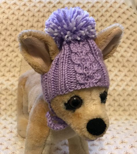 06d61eb1510 Pet Clothes Hand Knit Hat for Small Dog with Big Pom Pom XS  S XXS M Sizes  Nice Gift