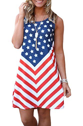 ODGear Womens O-Neck Short Sleeve Star American Flag Print Tank Tops Blouse T-Shirts Summer New Independence Day