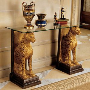 Eygptian African Decor Statues Cheetah Wildlife Animal Sculpture Glass Top Table Egyptian Home Decor Egyptian Furniture Design Toscano