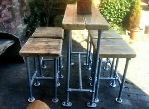 Industrial Style Reclaimed Scaffold Breakfast Bar and Four Stools | eBay