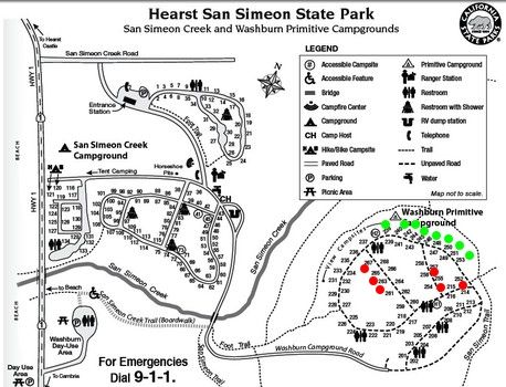 lake lopez campground map Hiking And Camping In Hearst San Simeon State Park San Simeon lake lopez campground map