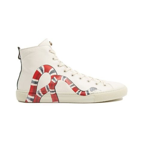 ad6c13cd9b3 Gucci Major snake-print high-top leather trainers (€625) ❤ liked on  Polyvore featuring men s fashion