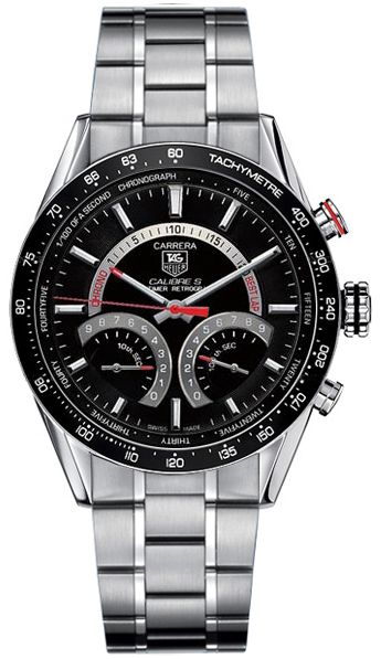 CV7A10.BA0795  NEW TAG HEUER CARRERA CALIBRE S MENS LUXURY WATCH     Discontinued usually ships within 6 months  - FREE Overnight Shipping - NO SALES TAX (Outside California)- WITH MANUFACTURER SERIAL NUMBERS- Black Guilloche Dial - 1/100th Second Flyback Chronograph Feature  - Push Crown Switches between Hour, Chrono,