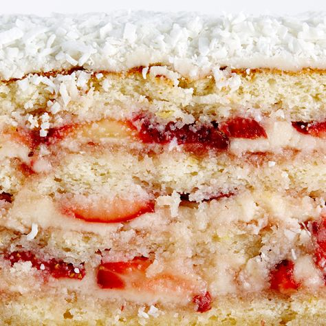 Strawberry Coconut Layer Cake #BiteMeMore #recipes