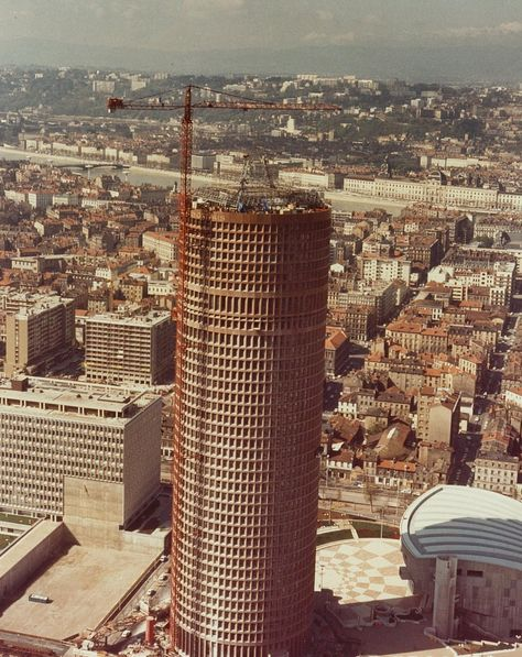 1977 Chantier de la tour de la Tour Crédit Lyonnais à la Part Dieu Lyon