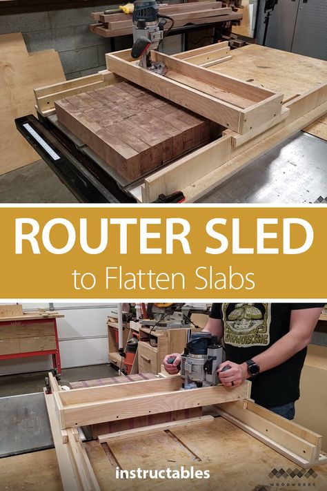Make a router sled/slab flattening mill. It's a great way to flatten work pieces that are too large to fit in a standard planer, drum& The post How to Make a Router Sled to Flatten Slabs appeared first on Cassidy Woodworking. Diy Router, Router Sled, Router Jig, Router Woodworking, Woodworking Workshop, Woodworking Techniques, Woodworking Shop, Woodworking Horse, Woodworking Gloves