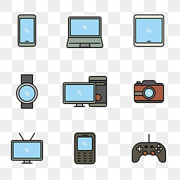 مجموعة من أيقونة الجهاز مع تصميم خط مليئة مثل كمبيوتر محمول الهاتف الذكي وأكثر من ذلك جهاز هاتف ذكي الة تصوير Png والمتجهات للتحميل مجانا Laptop Computers Smartphone Line Design