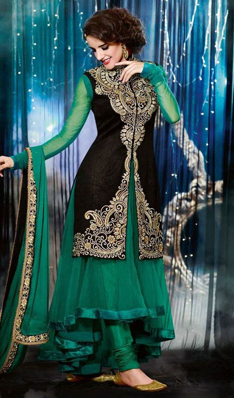 313e4ef2de Black and Jade Green Net Velvet Embroidered Churidar Suit Price: Usa Dollar  $148, British UK Pound £87, Euro109, Canada CA$161 , Indian Rs7992.