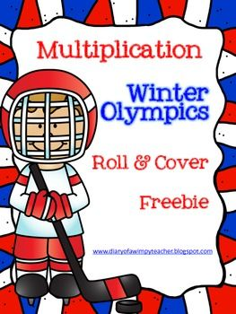 Winter Olympics Multiplication Roll and Cover FREEBIE