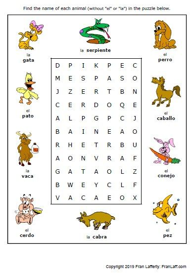 Animals In Spanish Franlaff Com In 2020 Spanish Worksheets Spanish Lessons For Kids Spanish Animals