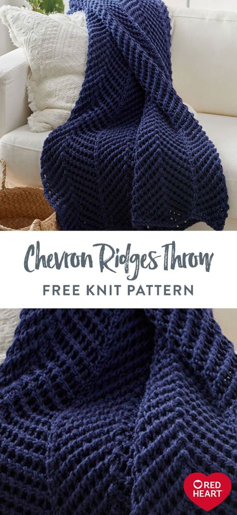 Chevron Ridges Throw free knit pattern in Red Heart Soft yarn. Work with 2 strands of yarn held together to complete this luxurious throw for the family room or bedroom. Crochet Blanket Patterns, Baby Knitting Patterns, Loom Knitting, Free Knitting, Knitted Blankets Pattern Free, Knitting Blankets, Throw Blankets, Knitting Projects, Crochet Projects