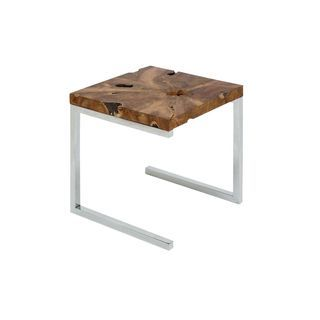 Stainless Steel Teak Wood Side Table 22 Inches High X 20 Inches