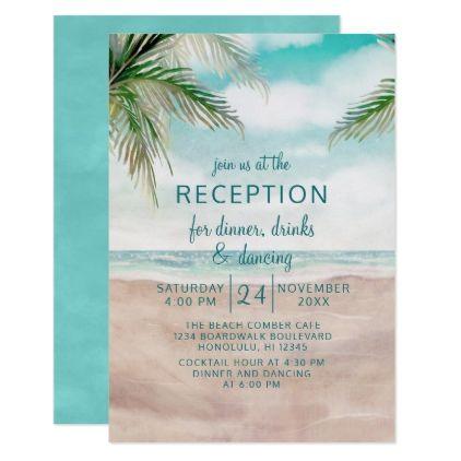 Island Breeze Tropical Beach Wedding Reception Invitation Zazzle Com Tropical Beach Wedding Wedding Bridal Shower Invitations Beach Wedding Rehearsal Dinner