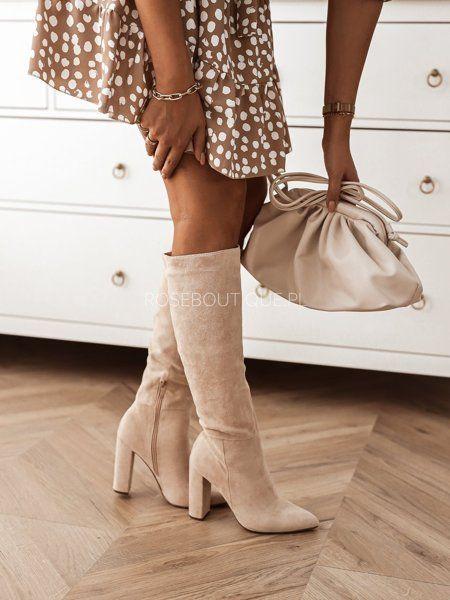 Bezowe Kozaki Na Wysokim Slupku Fashion Boots Knee Boots