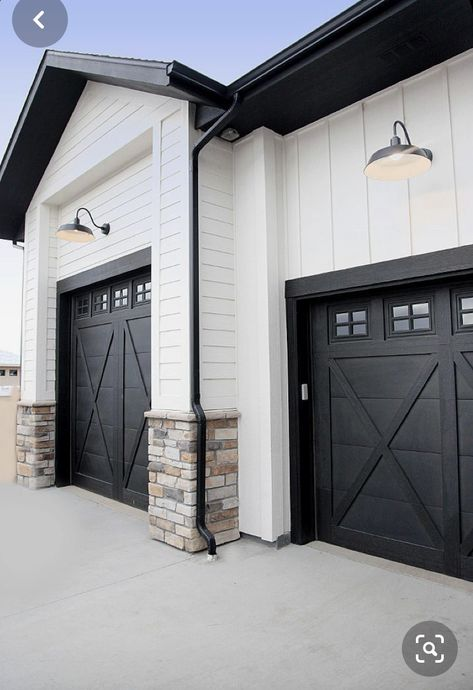 My Garage Doors With Lights And Black Rock Accents Modern Farmhouse Exterior House Exterior Dream House