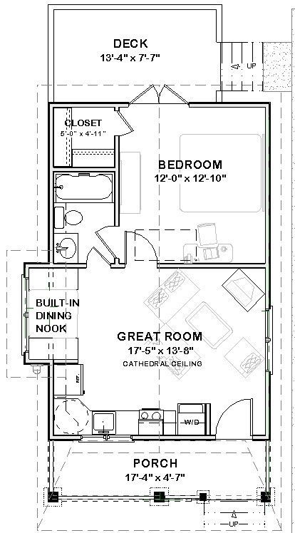 Affordable House Tiny Home Blueprints Plans 1 Bedroom Cottage Cabin 518 Sf Pdf 39 99 Picclick Tiny House Plans Tiny House Floor Plans Building Plans House