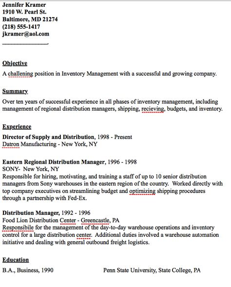 Example of Distribution Manager Resume - http\/\/resumesdesign - inventory resume