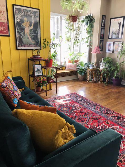 Boho Living Room, Living Spaces, Colourful Living Room, Oriental Living Room Decor, Living Room Decor Yellow, Cozy Eclectic Living Room, Yellow Rooms, Living Room Photos, Scandinavian Living