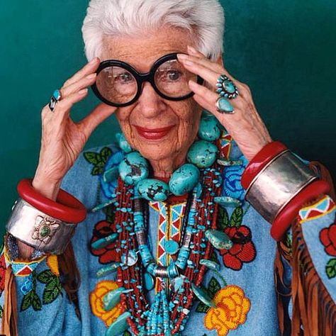 """We are beyond honored to have had the opportunity to interview the legendary #irisapfel. A true pioneer in defining personal style and comfort in one's own skin! We absolutely LOVE this beautiful little lady! """"It's better to be happy than well dressed."""" -Iris Apfel And we couldn't agree more!"""