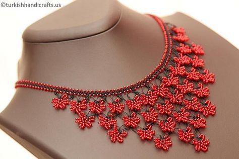 Necklace Model No: 008 Item No: 010 Description: Beaded Lace Necklace ( Oya Crochet Necklace), produced by local Women of Cappadocia ( in Turkey ).