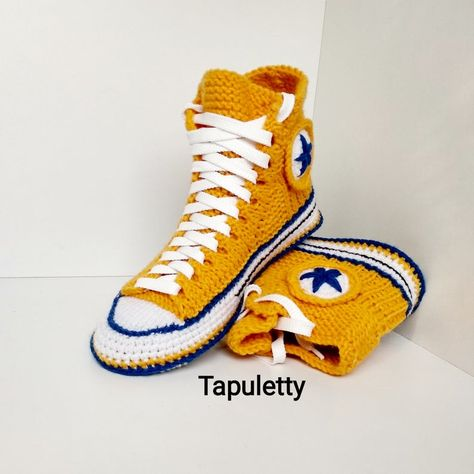 Crochet house slippers Crochet converse boots Yellow