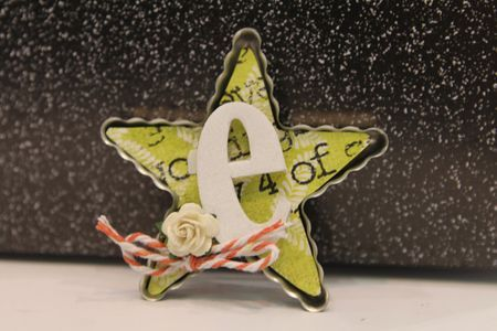 Star Bottlecap with chipboard letter, scrapfest make & take