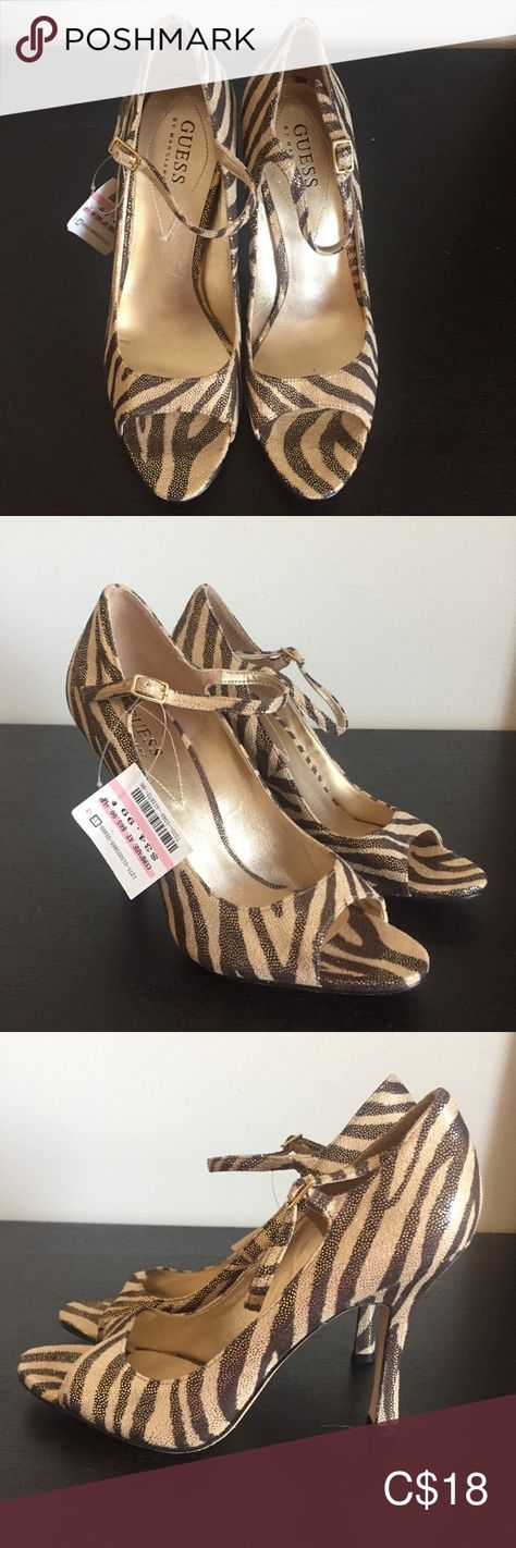 Guess by Marciano Animal Print Open Toe Shoes NWT, gold shimmer pressed suede material. Heel height - 4 inches Women's size 7 Guess by Marciano Shoes Heels