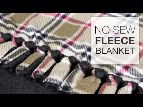 "I like this type of knot.  She uses 5"" fringe. DIY No Sew Fleece Blanket Tutorial - YouTube"