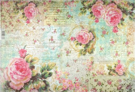 Rice paper Similar roses on a wooden floor for Decoupage Scrapbooking Sheet