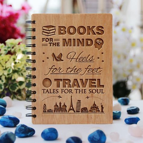 Books, heels and travel tales - Personalized Wooden Notebook - Large / Okoume